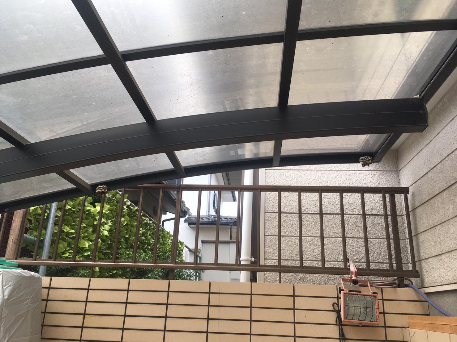 千葉県我孫子市新木野の蜂の巣駆除現場